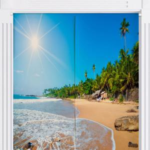 Sunshine Beach Home Product Door Curtain - BLUE W33.5 INCH * L47 INCH