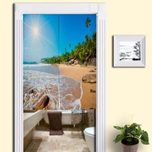 Sunshine Beach Home Product Door Curtain - Blue - W33.5 Inch * L47 Inch