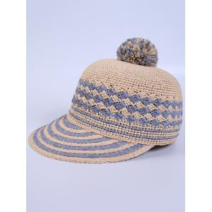 Pom Ball Rhombus Striped Baseball Cap -