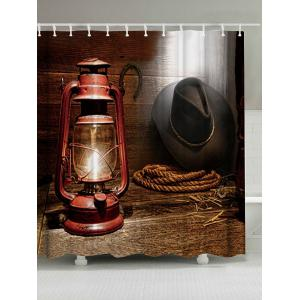 West Cowboy Lantern Mildew Resistant Shower Curtain - Brown - W71 Inch * L79 Inch