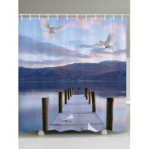 Lake Bridge Pigeon Waterproof Bathroom Shower Curtain - Colormix - W71 Inch * L79 Inch