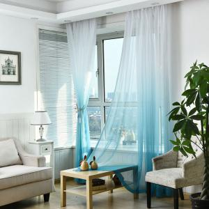 1PC Transparent Gradient Color Voile Window Curtain - Bleu clair Largeur39pouces*Longeur98.5pouces