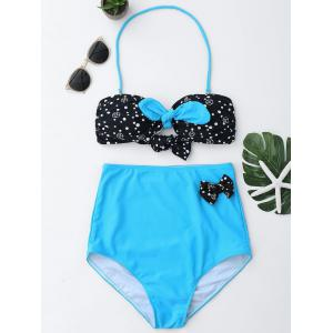 High Waisted Halter Bandeau Bikini Set