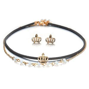 Crown Choker Necklace with Earring Set