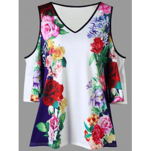 Plus Size Floral Cold Shoulder T-shirt - Colormix - 2xl