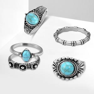 Faux Turquoise Bohemian Oval Ring Set -