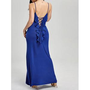 Ruffle Lace-up Slip Formal Maxi Evening Dress - Blue - M