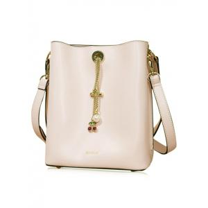 Cherry Pendant PU Leather Shoulder Bag - PINK