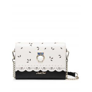Owl Embellished Scalloped Crossbody Bag