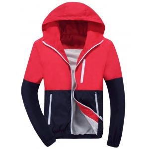Color Block Zip Up Hooded Track Jacket - Red - 2xl