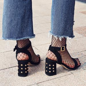 Studded Chunky Heel Two-Piece Sandals - BLACK 37