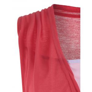 Casual Two Tone Surplice Sleeveless Top - WATERMELON RED XL
