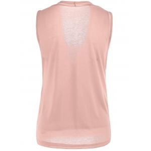Casual Two Tone Surplice Sleeveless Top - PINK XL