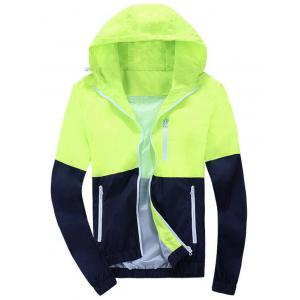 Color Block Zip Up Hooded Track Jacket