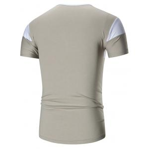 Two Tone Stretch Short Sleeve T-shirt - GRAY 3XL