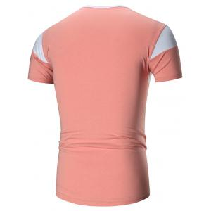 Two Tone Stretch Short Sleeve T-shirt - PINK 5XL