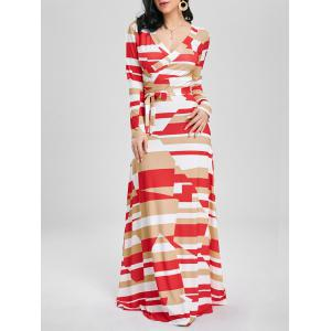 Color Block V Neck Long Sleeve Maxi Dress - White - 2xl