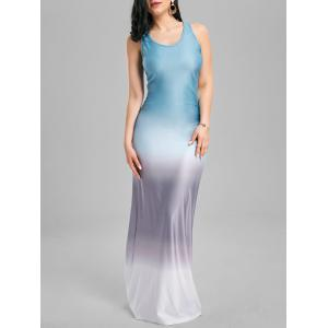 Ruched Ombre Racerback Maxi Tank Dress