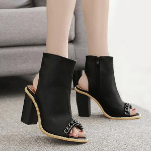 Chain Slingback Peep Toe Shoes - Black - 39