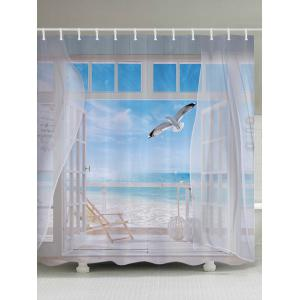 Beach Balcony Fabric Waterproof Bathroom Shower Curtain - White - W71 Inch * L79 Inch