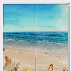 Cotton Linen Beach Scenery Door Curtain - BLUE W33.5 INCH * L35.5 INCH
