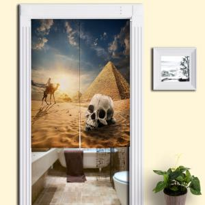 Pyramid Skull Print Cotton Linen Door Curtain - Sand Yellow - W33.5 Inch * L47 Inch