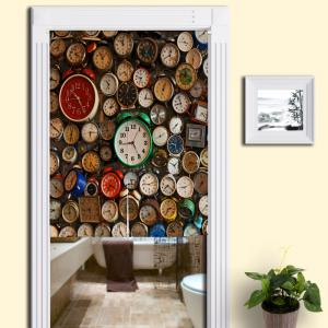 Full Clock Printed Home Product Door Curtain - Colormix - W33.5 Inch * L47 Inch