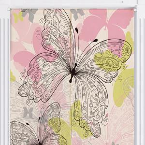 Butterflies Print Cotton Linen Home Door Curtain -
