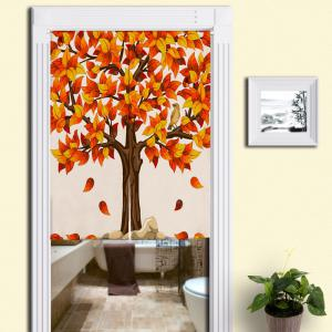 Fall Tree Print Home Product Door Curtain - Mandarin - W33.5 Inch * L47 Inch