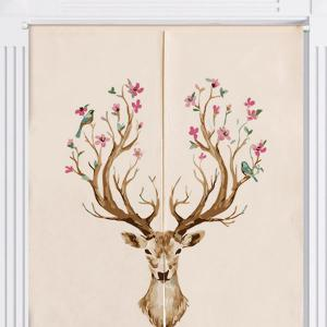 Floral Deer Print Cotton Linen Home Door Curtain - COLORMIX W33.5 INCH * L47 INCH