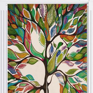 Home Product Artistic Colorful Tree Door Curtain -