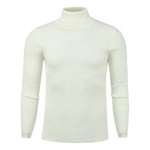 Vertical Knitting Turtle Neck Stretchy Sweater - White - Xl
