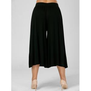 Black 6xl Plus Size Wide Leg Capri Palazzo Pants | RoseGal.com