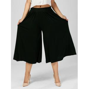 Plus Size Wide Leg Capri Palazzo Pants - Black - 5xl