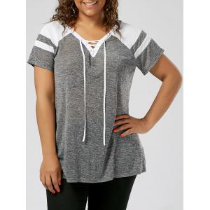 Plus Size Lace Up Raglan Sleeve Top - Grey And White - 2xl