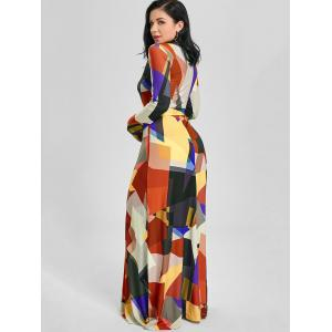 Color Block V Neck Long Sleeve Maxi Dress - BLACK M