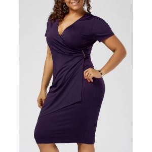 Plus Size Overlap Tight Surplice Work Dress - Deep Purple - 2xl