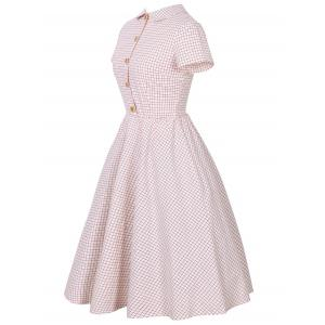 Checked Collared Short Sleeve Pin Up Dress - PINK 2XL