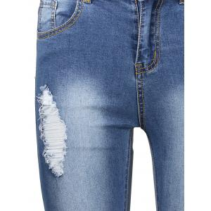 Ankle Length High Waisted Skinny Ripped Jeans - DEEP BLUE S