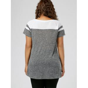 Plus Size Lace Up Raglan Sleeve Top - GREY AND WHITE XL