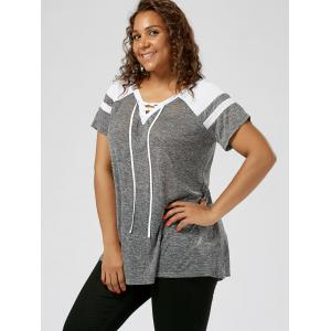 Plus Size Lace Up Raglan Sleeve Top - GREY AND WHITE 3XL