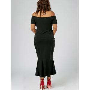 Off Shoulder Mermaid Plus Size Holiday Dress - BLACK 2XL