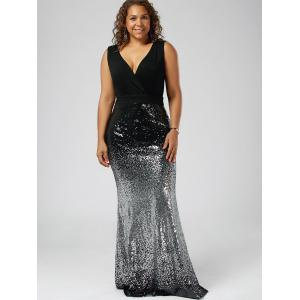 Plus Size Sequins Fishtail Maxi Evening Dress - BLACK 4XL