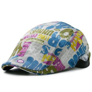 Graffiti Letters Printing Flat Cap - Blue And White