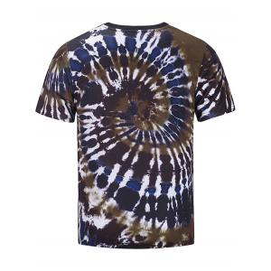 Short Sleeve Color Block Spiral Tie Dye Print T-shirt -