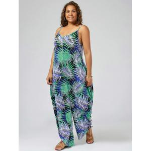 Plus Size Tropical Printed Spaghetti Strap Baggy Jumpsuit -