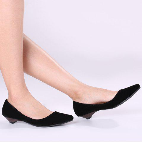 Trendy Shallow Mouth Low Heel Pumps BLACK 37