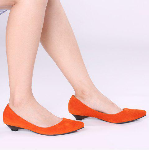 Outfit Shallow Mouth Low Heel Pumps ORANGE YELLOW 39