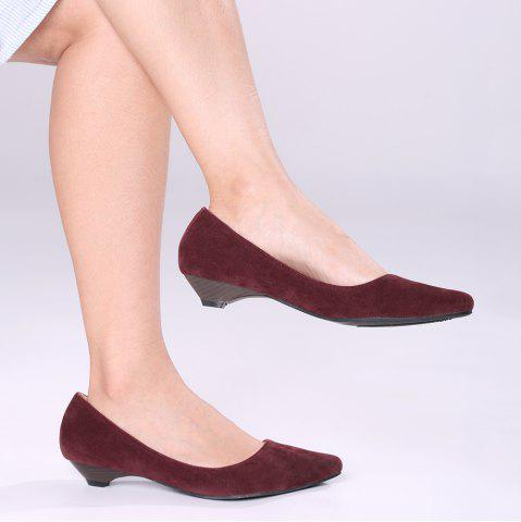 Outfit Shallow Mouth Low Heel Pumps WINE RED 39
