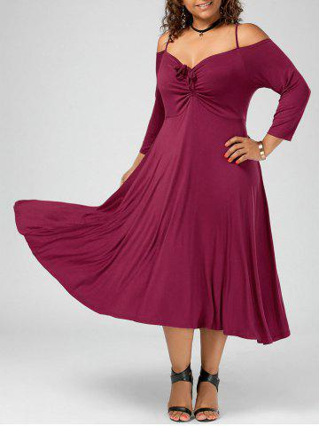 Plus Size Spaghetti Strap Cold Shoulder Party Dress - Wine Red - 2xl